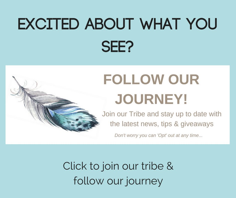 image of feather with sea blue background. text overlaid to click to join our tribe mailing list